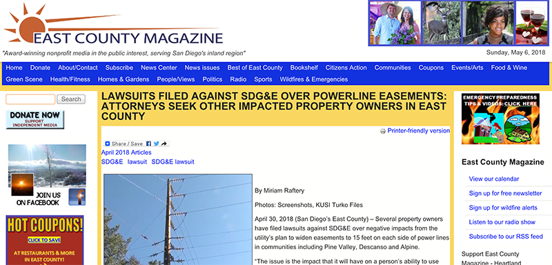 LAWSUITS FILED AGAINST SDG&E OVER POWERLINE EASEMENTS